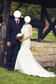 Krajkové svatební šaty s vlečko, 38