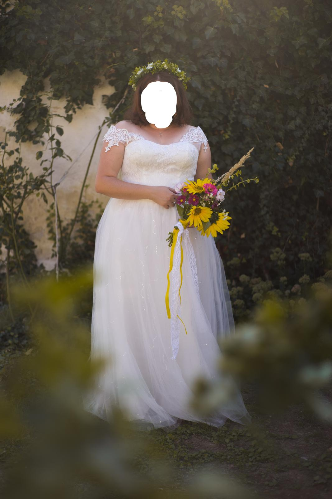 Svadobné šaty - biela farba, na šnurovanie (40-46) - Obrázok č. 3