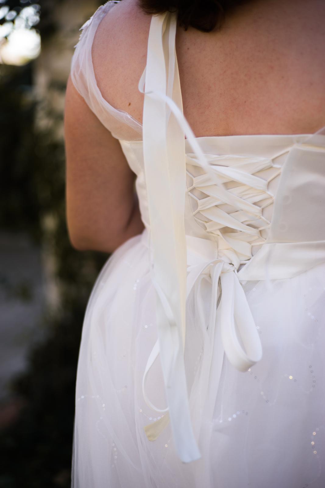 Svadobné šaty - biela farba, na šnurovanie (40-46) - Obrázok č. 4