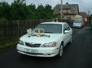Auto novomanželů (ta kočka není plyšová, to je náš Macek, který musel zkontrolovat ozdobu:-))
