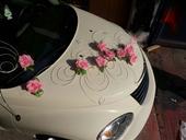 Dekoracia auta - ruze + ratan,