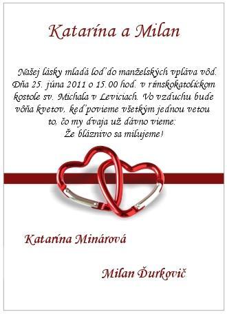 Katka a Minko - Naše oznámenie :))) len bude trošku iný text.