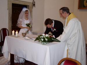 první podpis novomanžela
