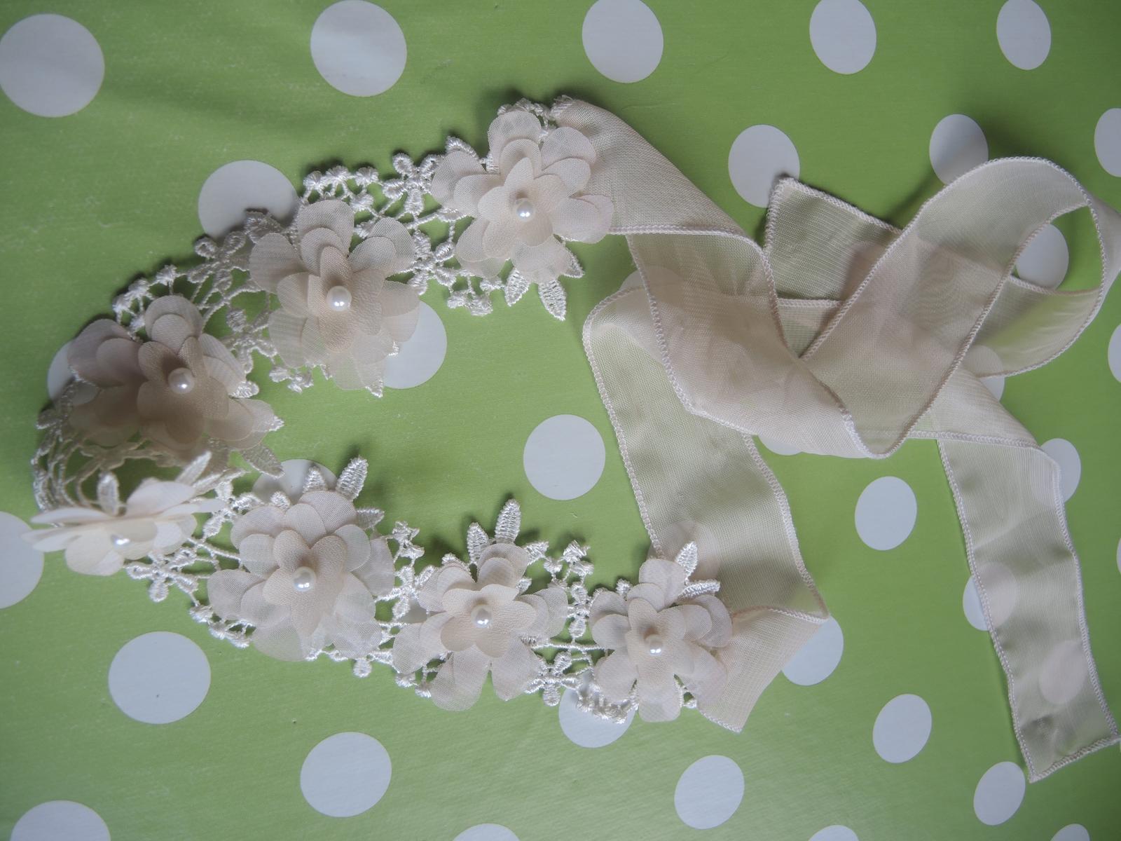 kvetinová čelenka na viazanie - Obrázok č. 2