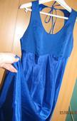 Dlhé modré saténové šaty veľ. 38, 38