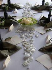 Moc se mi nelíbí nápad který mají všichni s dlouhou šerpou vprostřed stolu proto uvažuji nad jinou alternativou :-) Ali něco s motýlkama si představuji v kombinaci s našimi iniciály a obrysy našich rukou :-)