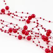 perličková girlanda 1,3 m červená,