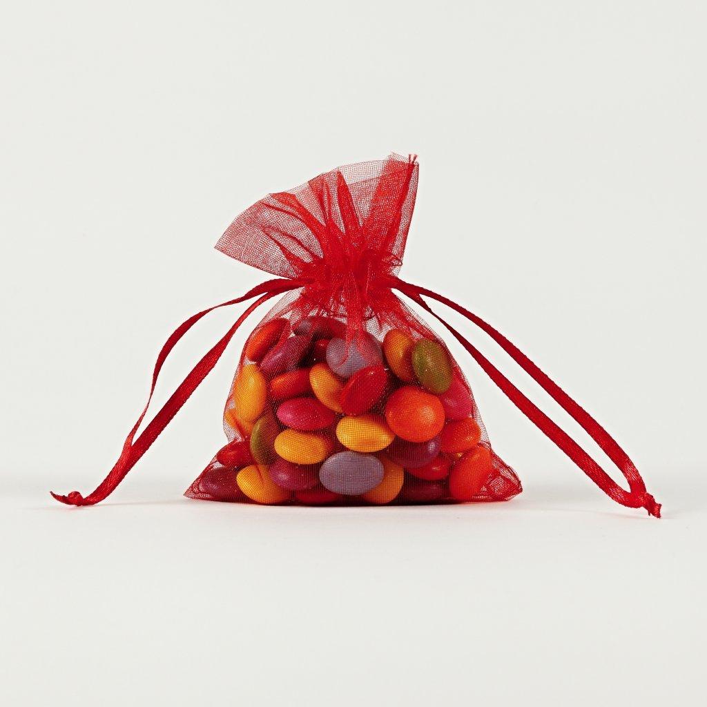 Darčekové vrecúška z organzy červené 7,5 x 10 cm - Obrázok č. 1