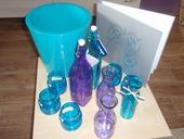 dekorační láhve fialová+tyrkysová,