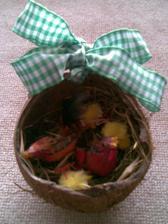 vtáčie hniezdo z kokosového orecha....