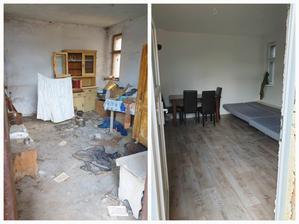 a tu je premena izby za 2dni aj s vypratovanim bordelu z domu :-) svokor omaloval steny aj okna, vysekal  zarubnu a s manzelom osadili