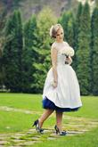 Modrá spodnica pod krátke svadobné šaty