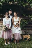 Krátke svadobné šaty s farebnou spodnicou, tylové Lo-OK sukne pre družičky