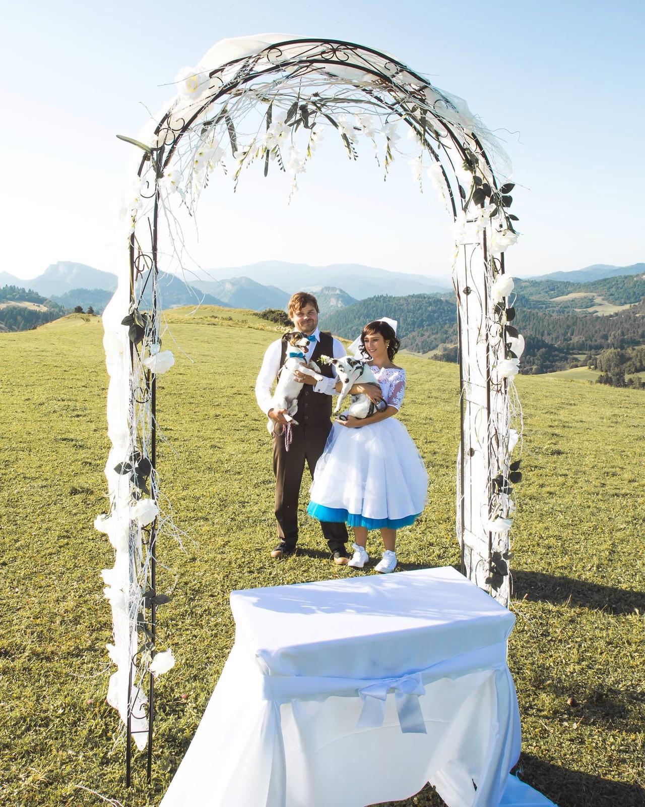 peter_a_lucia - Krátke svadobné šaty s farebnou spodnicou, hnedé nohavice a vesta, motýliky