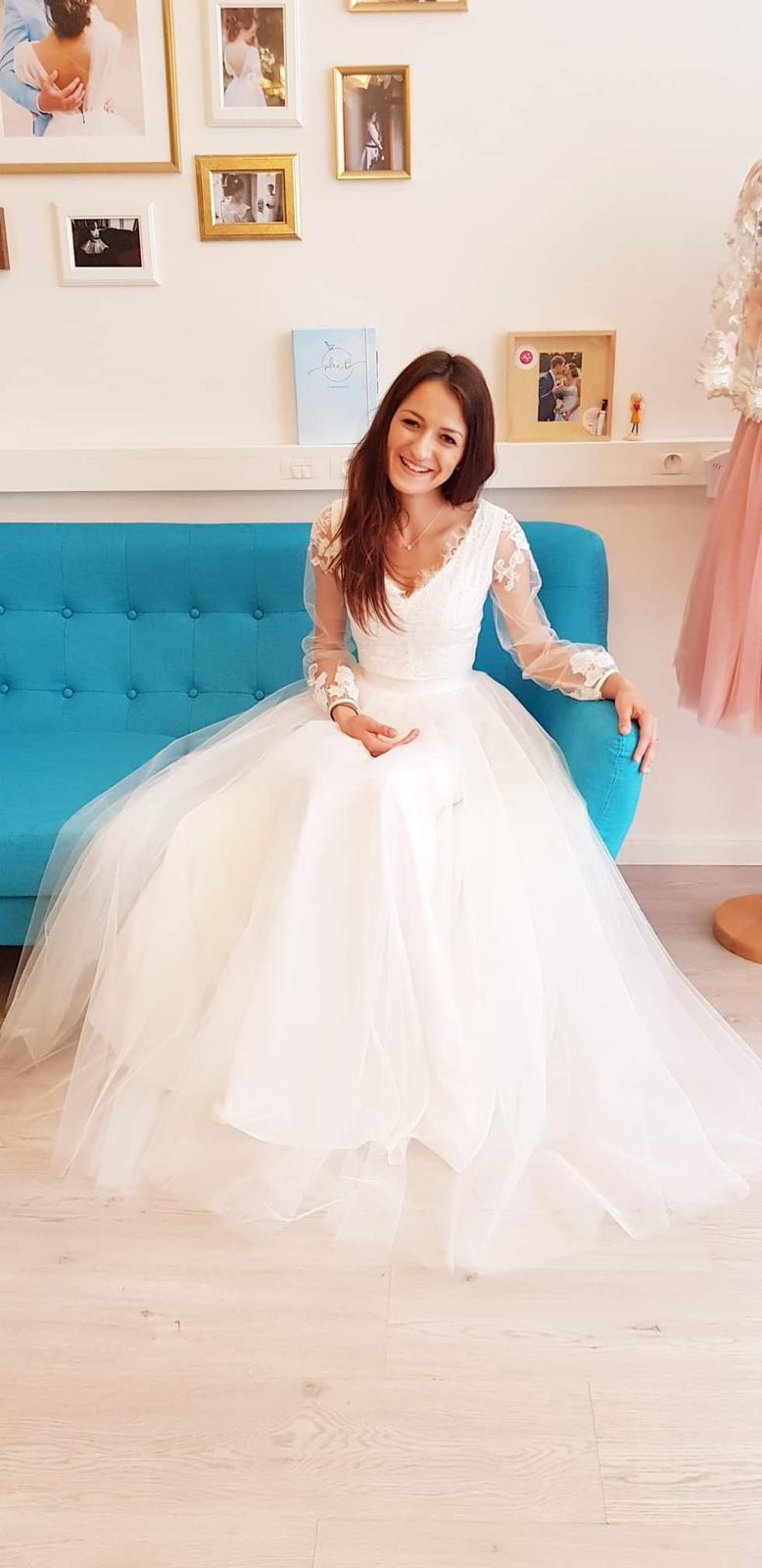 Dvojdielné dlhé svadobné šaty ❤ - Obrázok č. 1