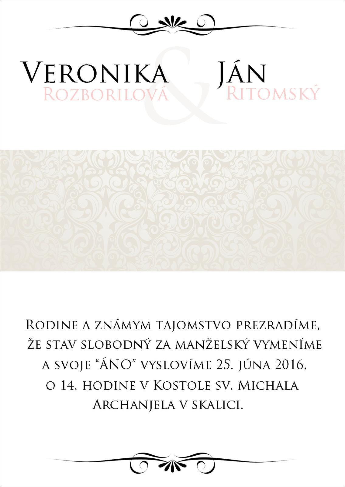 Svadobné oznámenia - Pokus č.2..takisto podklad bude ružový papier a cez ornamenty pôjde ešte ružová stuha so sponou :)
