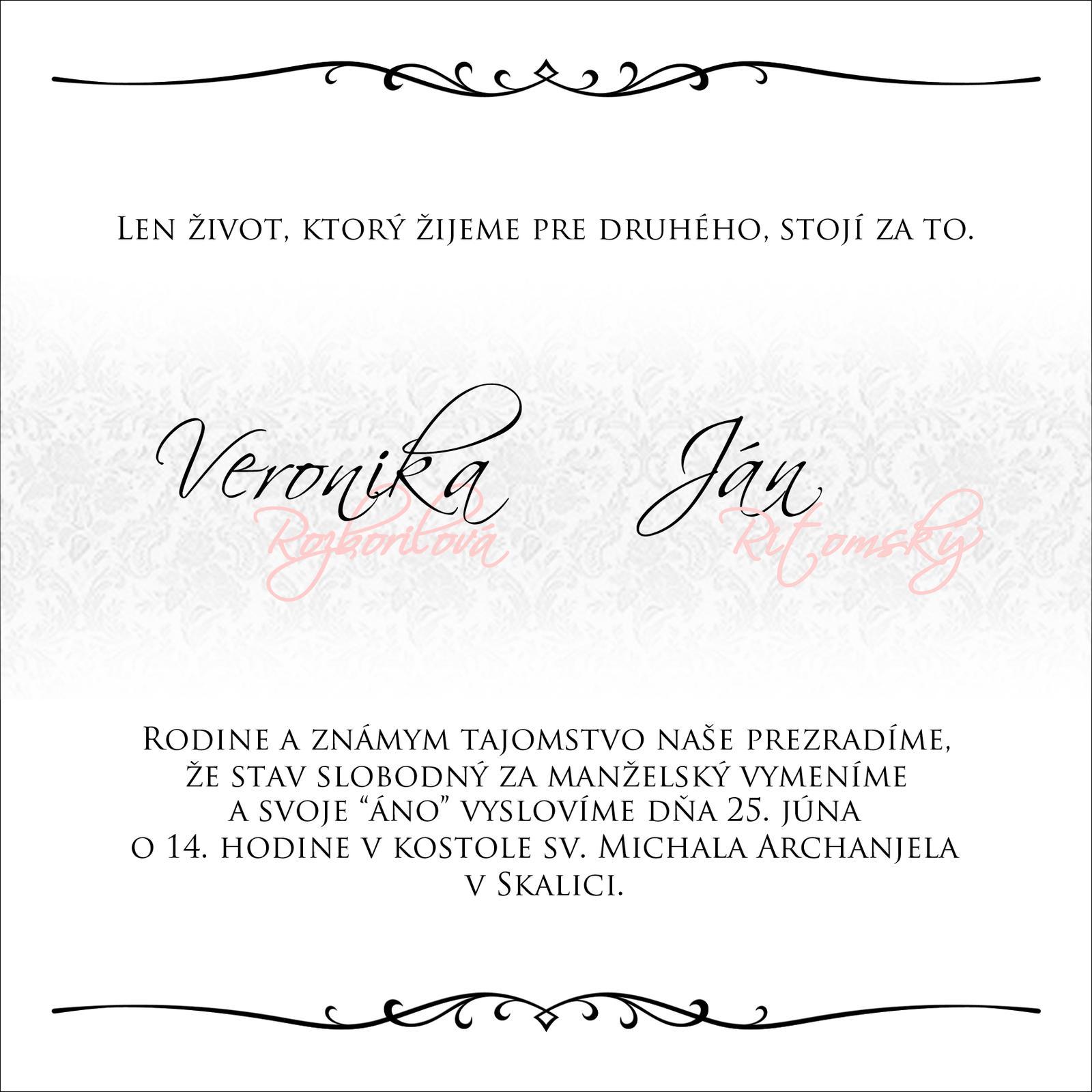 Svadobné oznámenia - Pokus č.3 vnútro :)