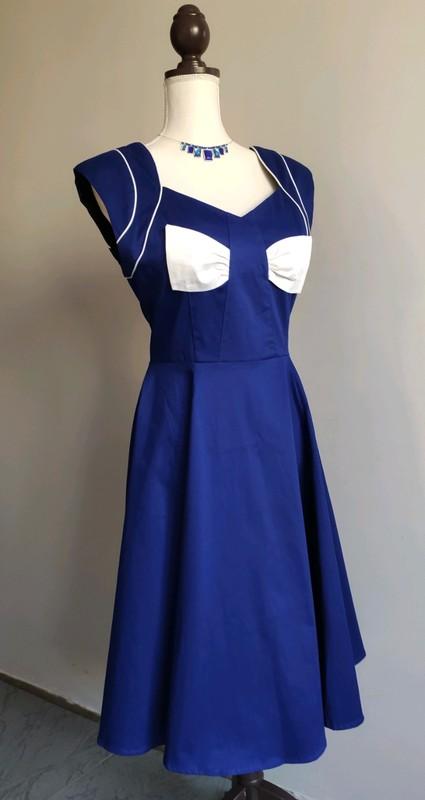 Tmavě modré šaty retro pin-up - Obrázek č. 1