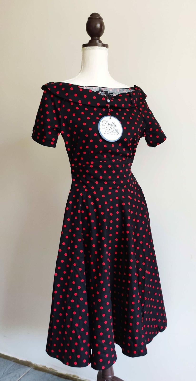 Retro pin-up puntíkaté šaty Dolly and Dotty vel XS (UK8) - Obrázek č. 1