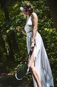 Bílá sukně dlouhá, s rozparkem, sexy, 38