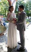 Krajkové svatební šaty (vel.38), zakázková výroba, 38