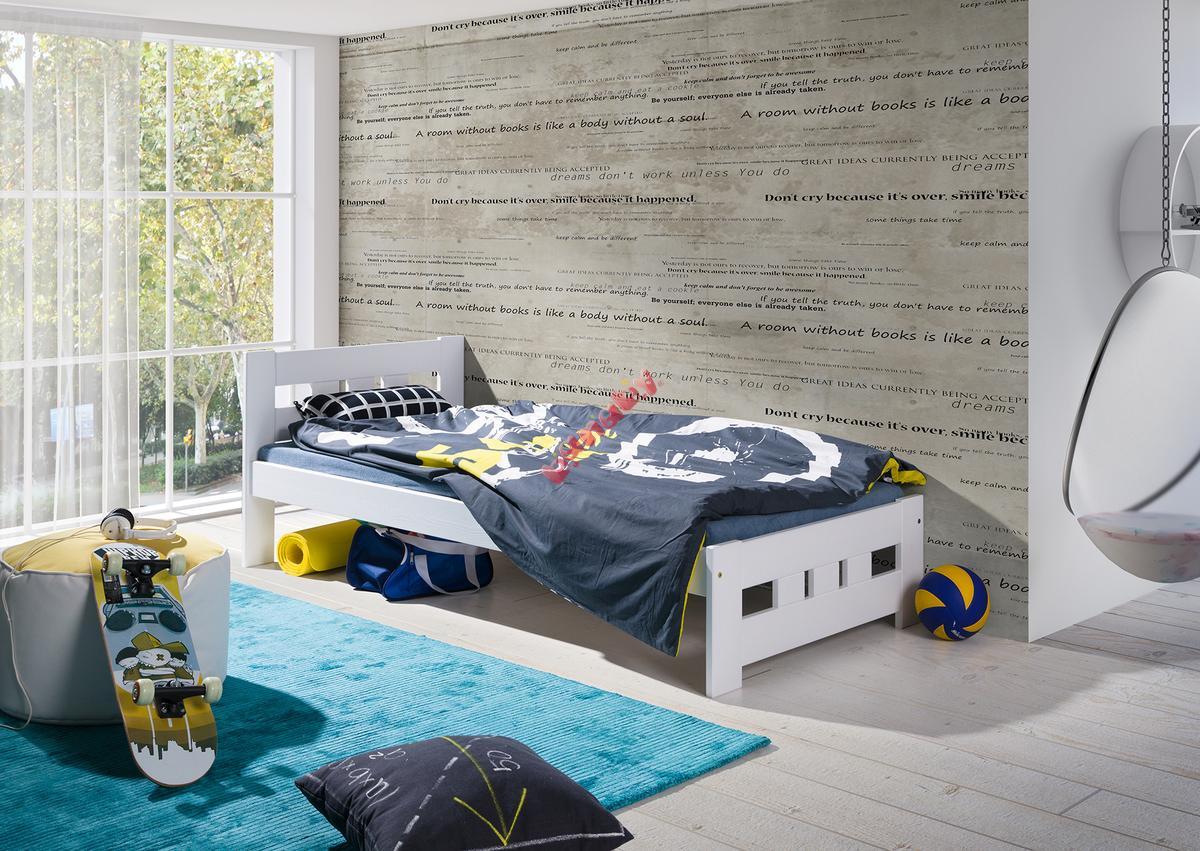 DETSKÁ SPÁLŇA - motív oblaky - Posteľ Vanesa - biela 90x200cm (95Eur) OBJEDNANE!! Jednoduche postele drevene, biele.