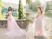 Světle růžové off shoulder svatební šaty, 38