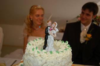 naše figurka, prý se má první výročí svatby sníst, tak hodně zdaru, je totiž plastová