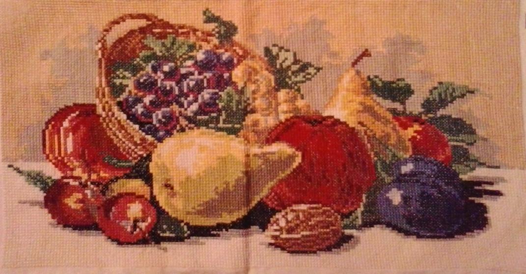 Vyšív.obraz-ovocie v košíku-42x22 - Obrázok č. 1