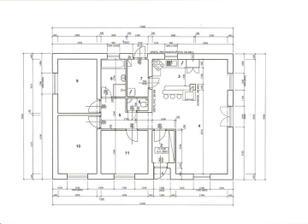 plánek: 1. zádveří, 2. chodbička, 3. kuchyň, 4. obývák, 5. chodba, 6. WC, 7. tech. místnost, 8. koupelna, 9. pokoj, 10. pokoj a 11. pokoj :-)