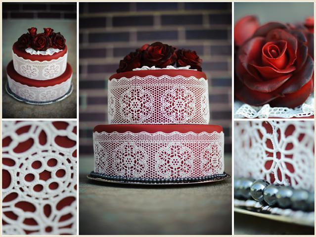 Vesnická svatba - krajkový dort jako hlavní,připomíná kroj