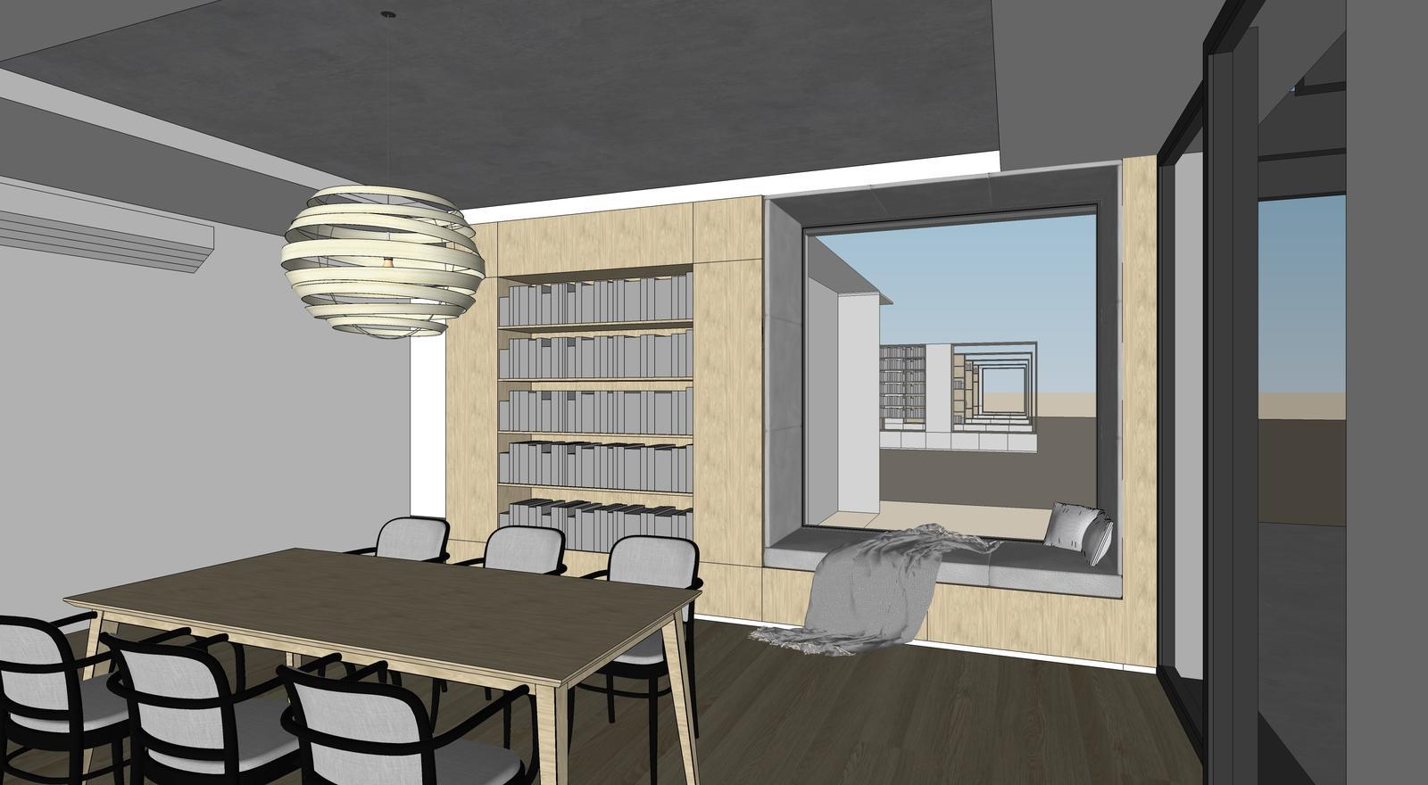 Obývačka- knižnica, sedília a pracovné miesto - Mame x variant a nevedeli sme sa vobec zhodnut. Drahy chcel vsetko cierne, ja biele, nakoniec budeme mat kompromis.