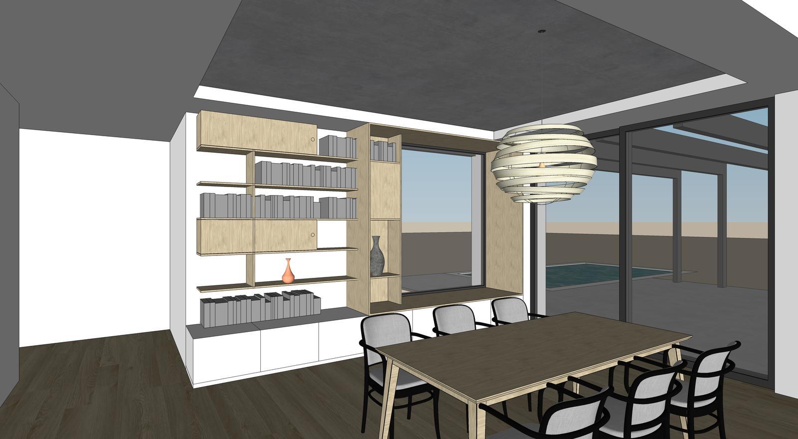 Obývačka- knižnica, sedília a pracovné miesto - Obrázok č. 4