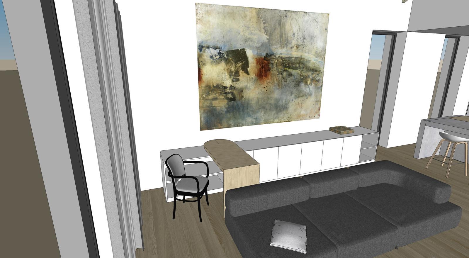 Obývačka- knižnica, sedília a pracovné miesto - Komoda do obývačky, kde by som mala mať integrované pracovné miesto.