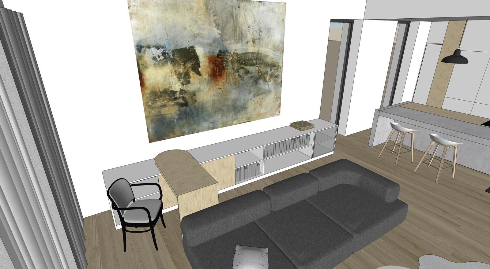 Obývačka- knižnica, sedília a pracovné miesto - Obrázok č. 22
