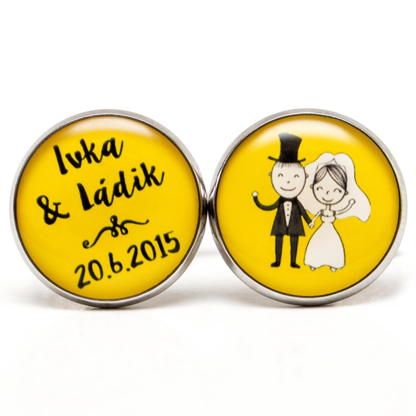 ♥  Manžetové gombíky na mieru - presne podľa Tvojich predstáv ♥ - Svadobné manžetky 019 žlté