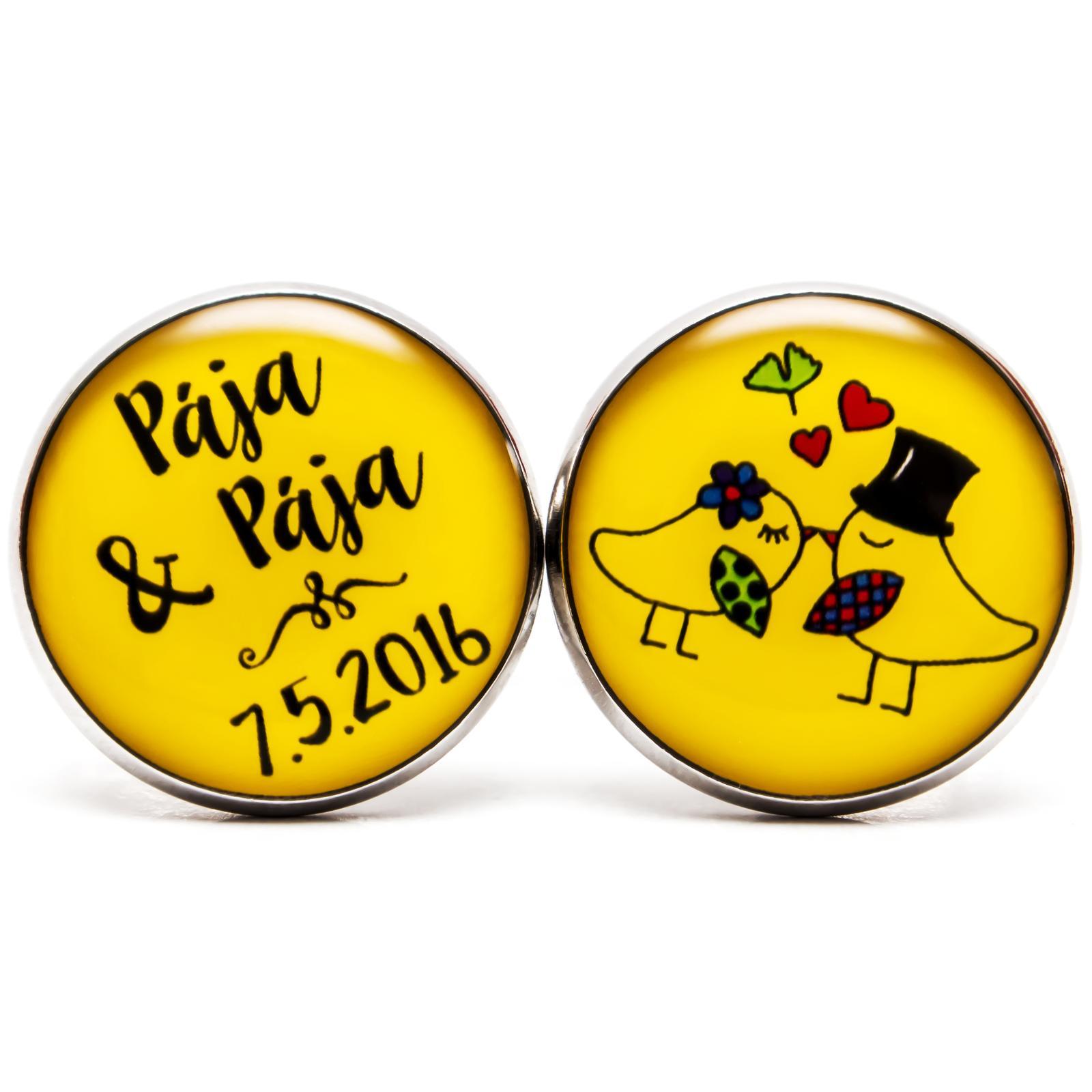 ♥  Manžetové gombíky na mieru - presne podľa Tvojich predstáv ♥ - Manžetky s holubičkami v žltej