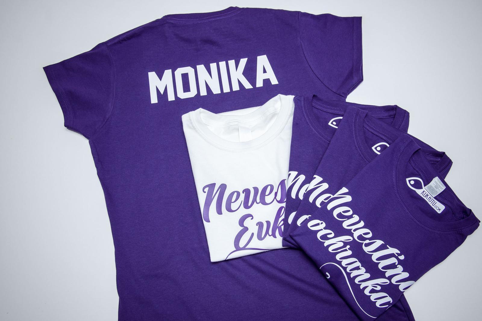 Nevestička a Ženích ♥ - trička na želanie podľa vlastných predstáv - Nevesta a jej ochranka + mená na chrbte - vo fialovom