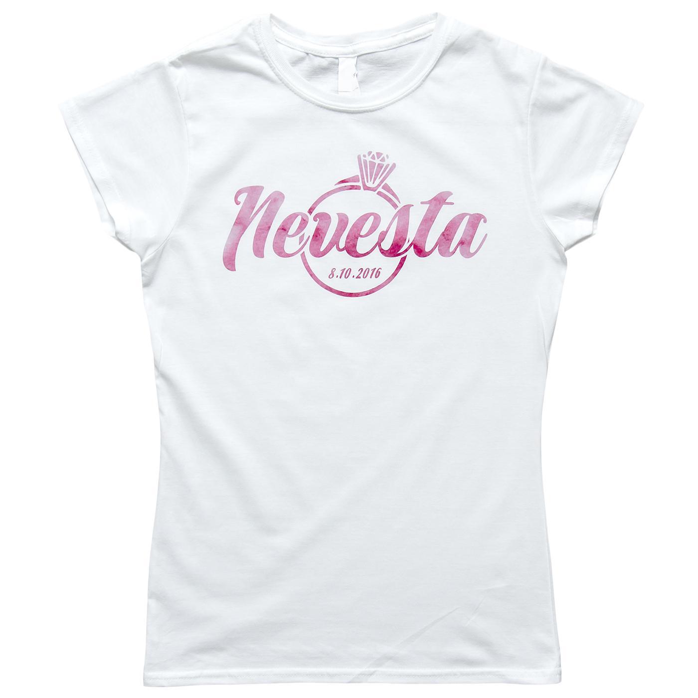 Nevestička a Ženích ♥ - trička na želanie podľa vlastných predstáv - Nevesta s prstienkom a dátumom svadby