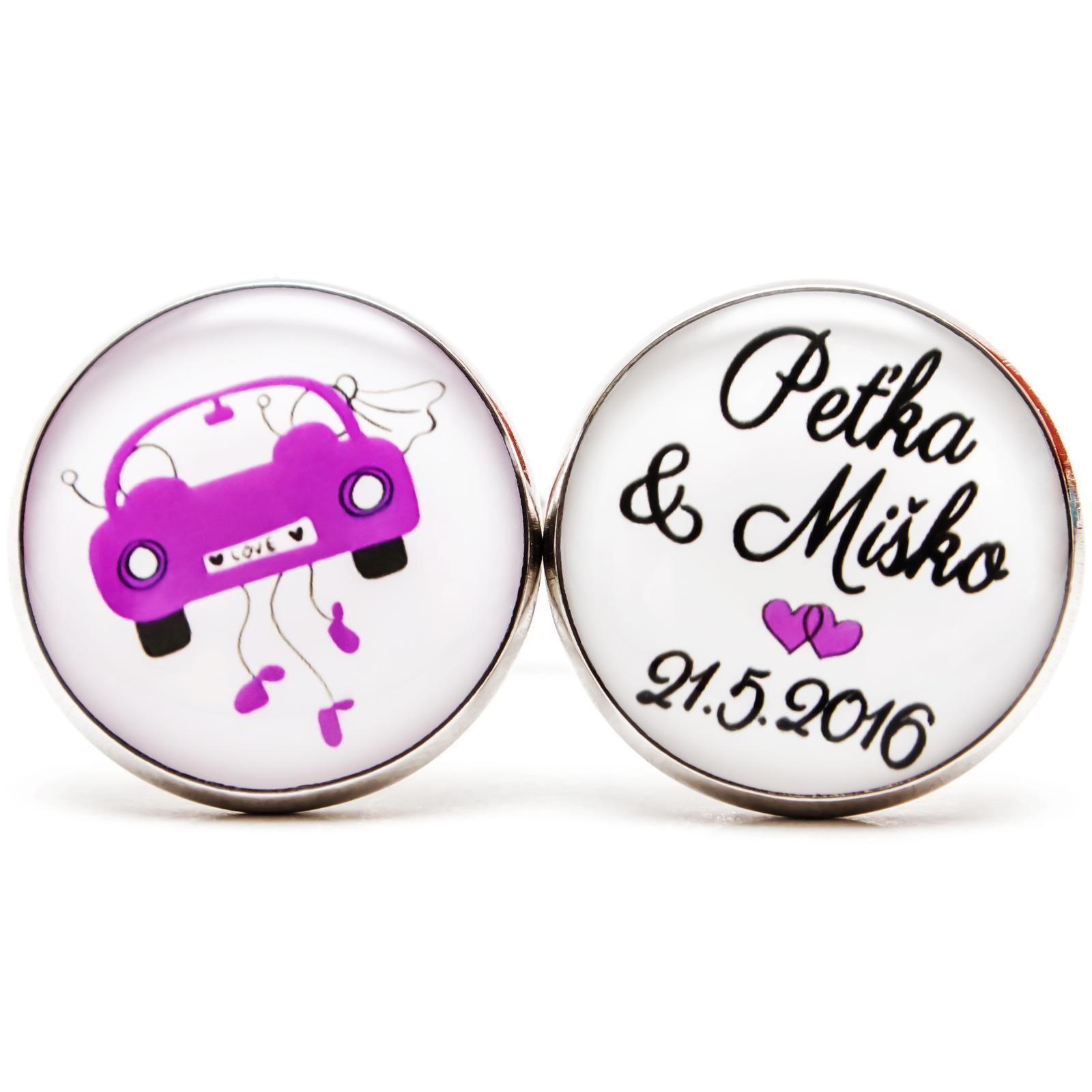 ♥  Manžetové gombíky na mieru - presne podľa Tvojich predstáv ♥ - Manžetové gombíky 033 - fialové detaily