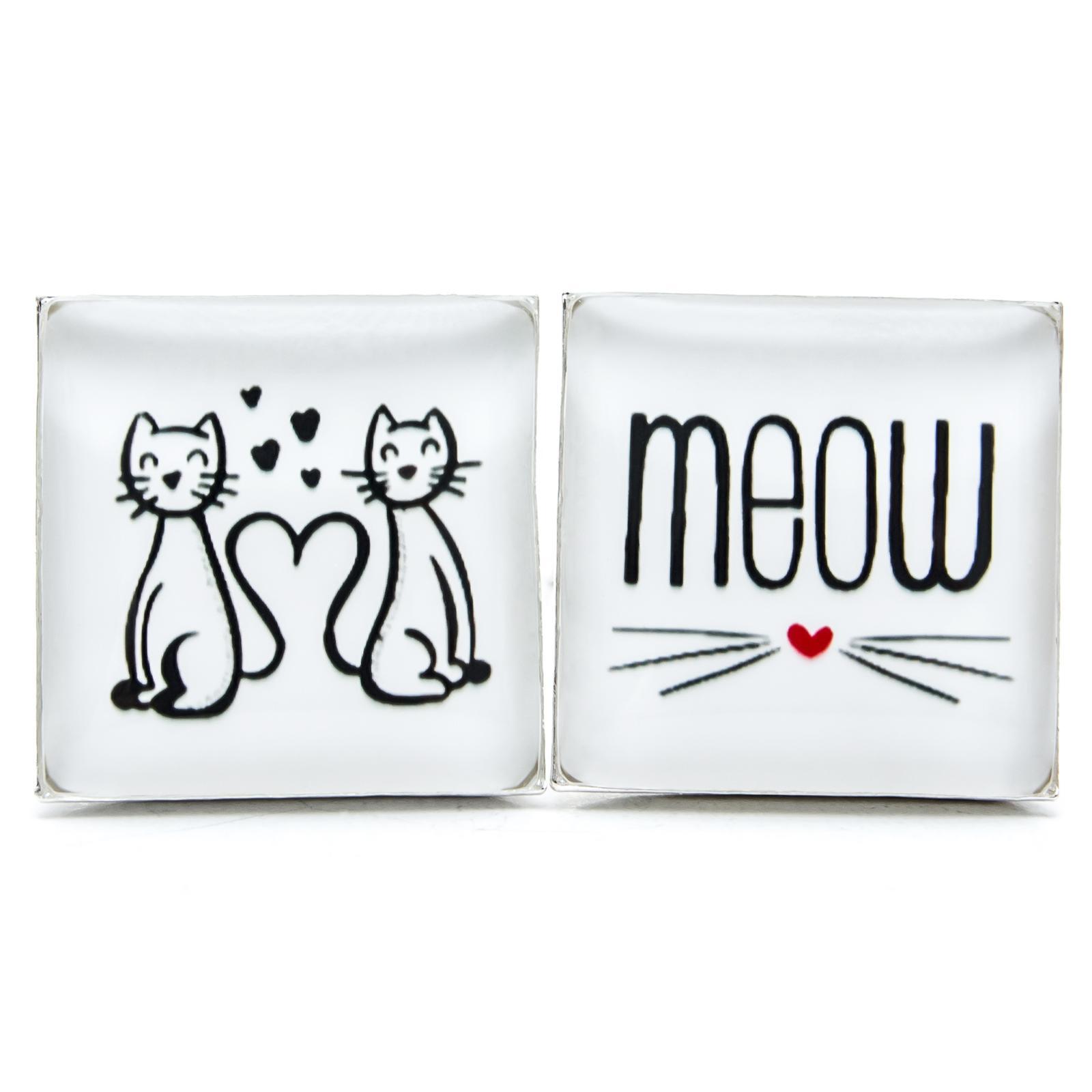 ♥  Manžetové gombíky na mieru - presne podľa Tvojich predstáv ♥ - Mačičky MEOW