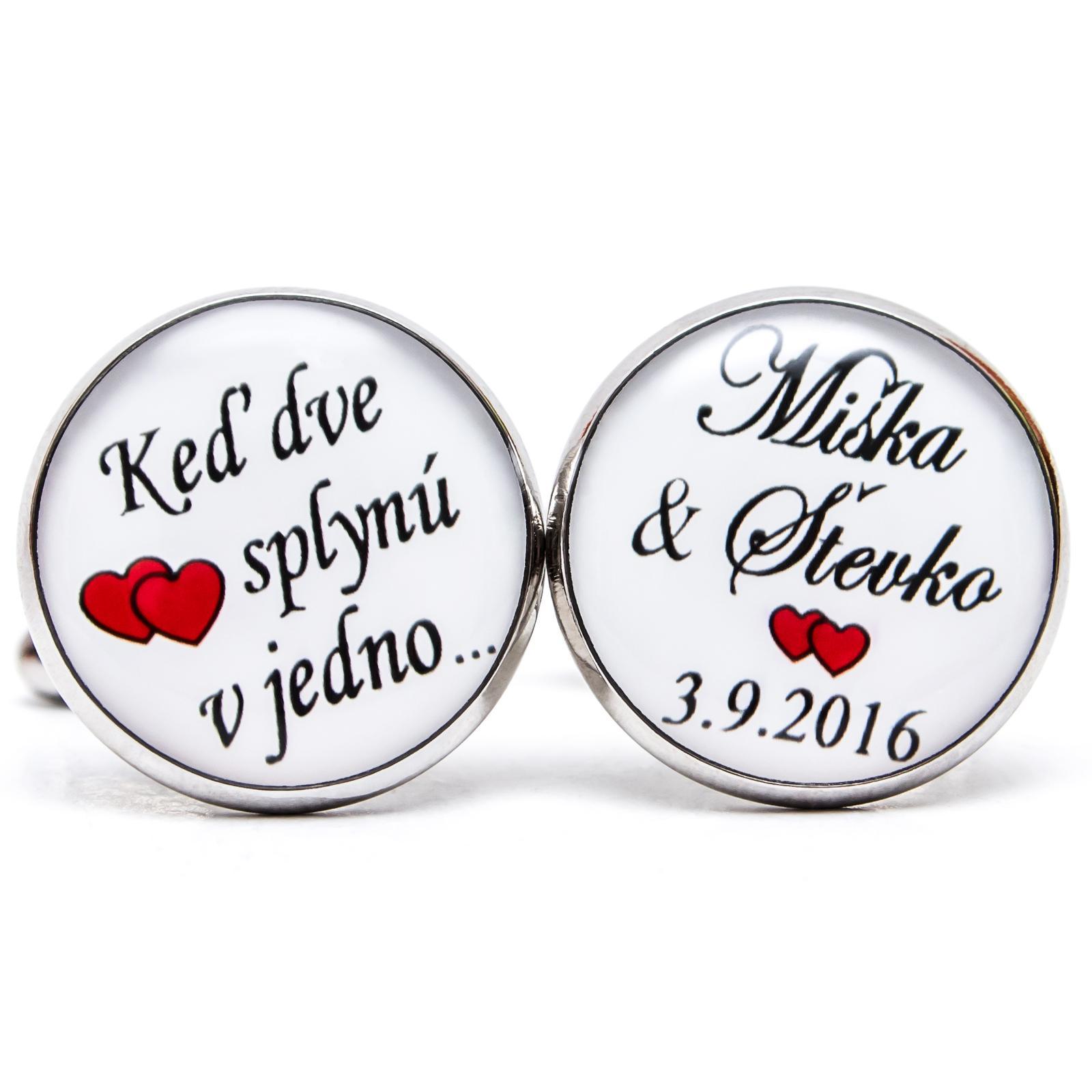 ♥  Manžetové gombíky na mieru - presne podľa Tvojich predstáv ♥ - Ked dve srdcia splynú v jedno
