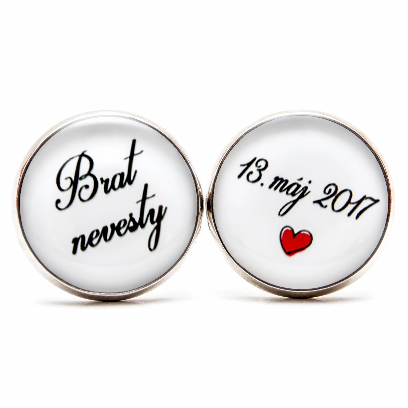 ♥  Manžetové gombíky na mieru - presne podľa Tvojich predstáv ♥ - Brat nevesty s dátumom a ♥
