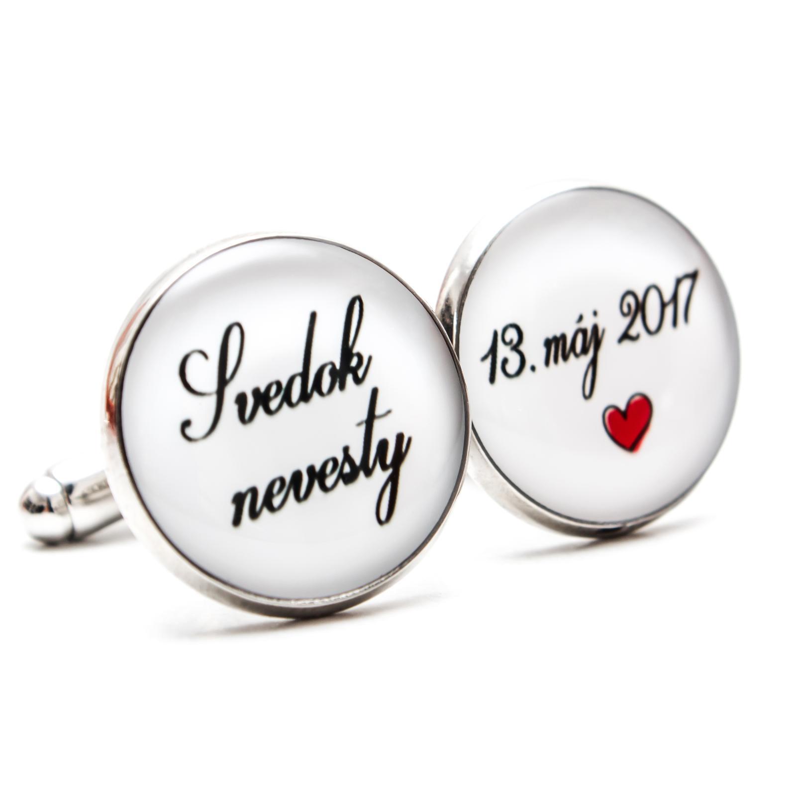 ♥  Manžetové gombíky na mieru - presne podľa Tvojich predstáv ♥ - Svedok nevesty s dátumom a ♥