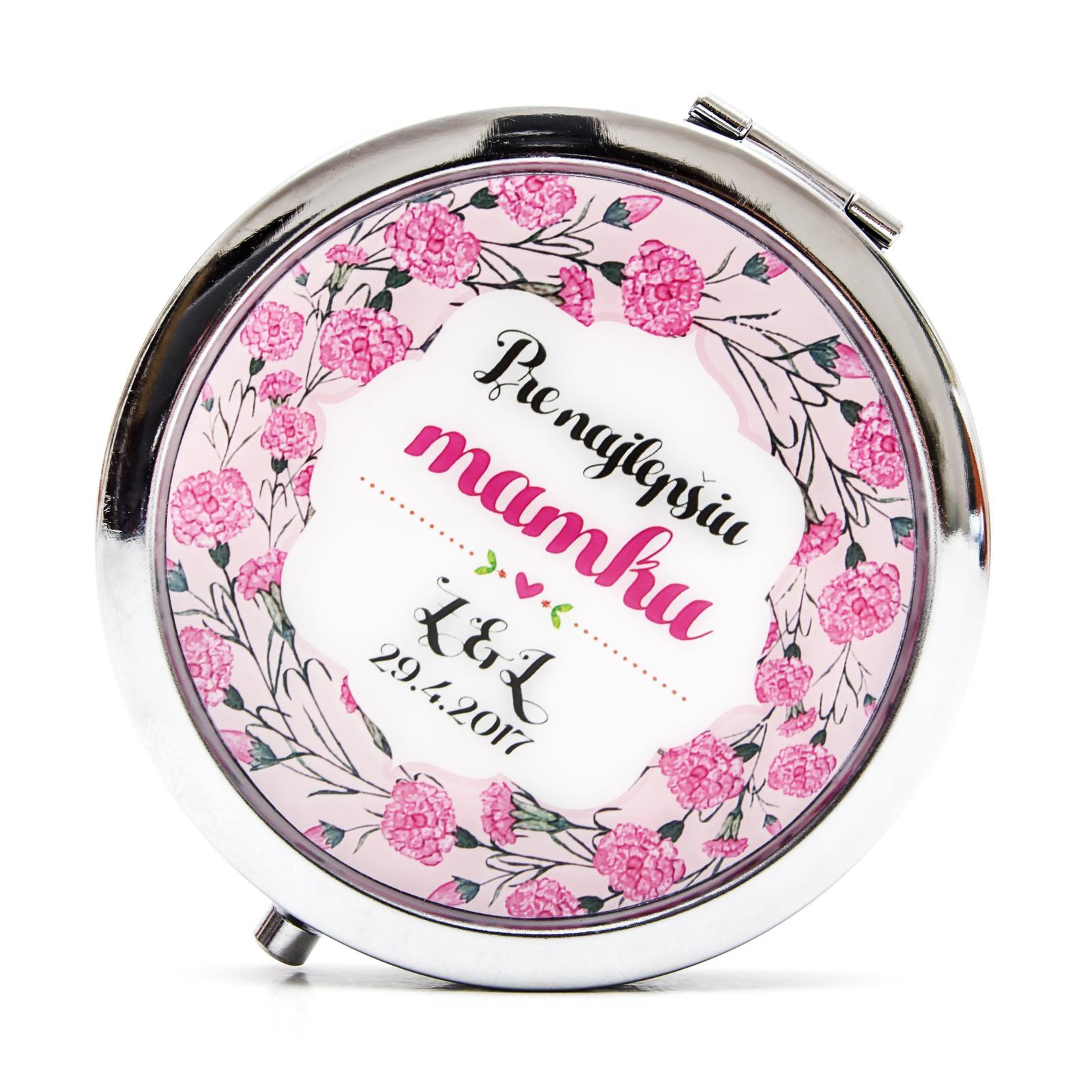 Zrkadielka na želanie - Zrkadielko pre mamku - kvetinkový motív - karafiáty