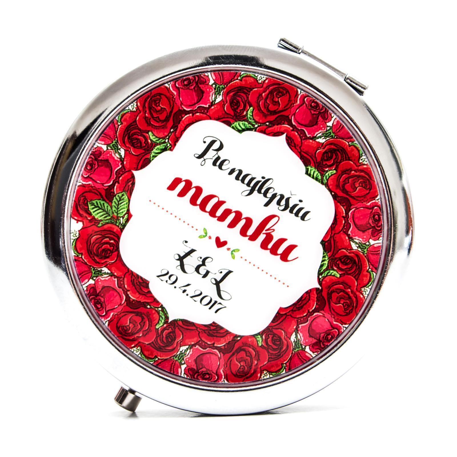 Zrkadielka na želanie - Zrkadielko pre mamku - kvetinkový motív - ruže