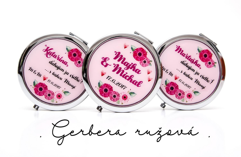 Zrkadielka na želanie - Zrkadielka s gerberou v ružovej