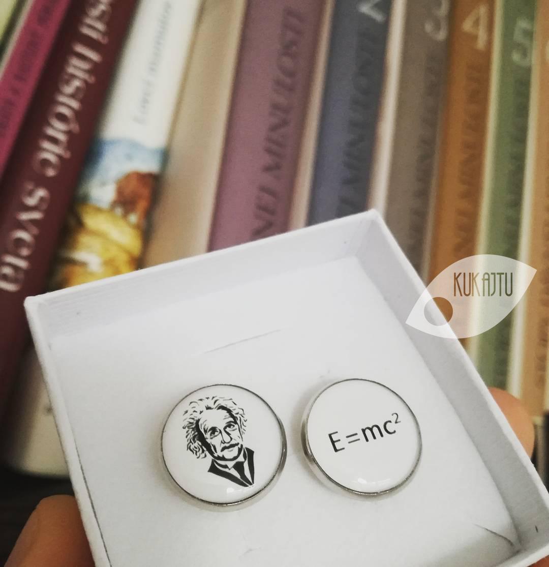 ♥  Manžetové gombíky na mieru - presne podľa Tvojich predstáv ♥ - Albert Einstein - E = mc2