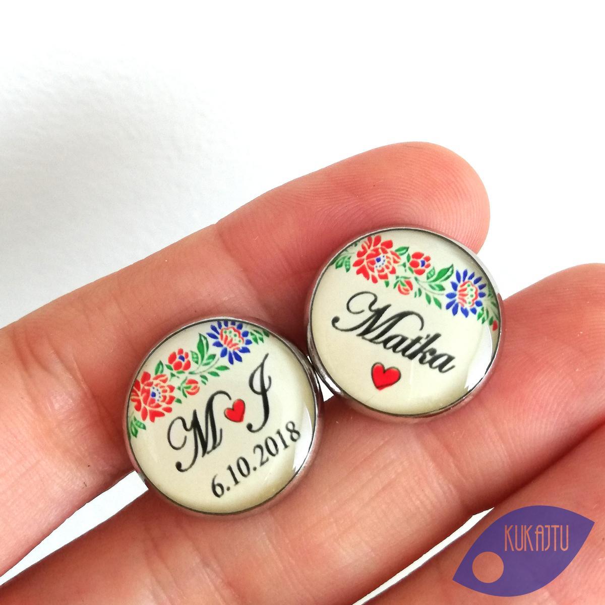 ♥  Manžetové gombíky na mieru - presne podľa Tvojich predstáv ♥ - Manžetky s folklórnym vzorom