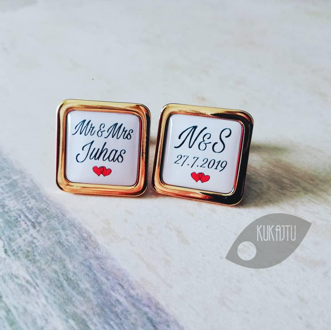 ♥  Manžetové gombíky na mieru - presne podľa Tvojich predstáv ♥ - Mr & Mrs